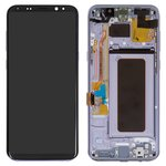 LCD compatible with Samsung G955 Galaxy S8 Plus, (grey, with touchscreen, with frame, Original (PRC), orchid Gray, original glass)